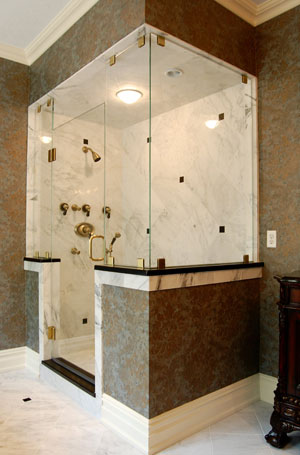Frameless corner shower using Starphire glass, full-fit panels in Morristown, NJ