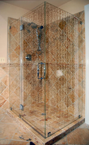Frameless shower enclosure using antique glass, done in Far hills, NJ