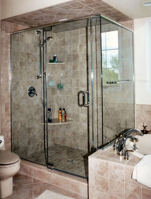 Frameless corner shower with header, done in Bedminister, NJ