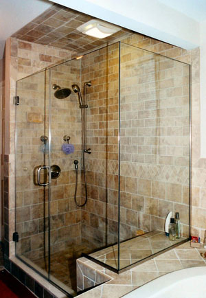 Frameless corner shower using Starphire glass, Bloomsbury, NJ