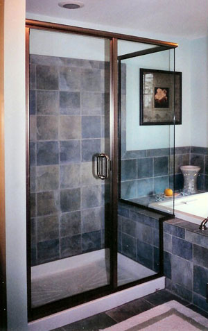 Semi-frameless corner shower, done in Raritan, NJ