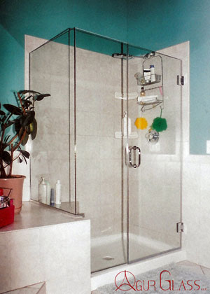 "Frameless corner shower using ""Shower Guard"" glass, Stewartsville, NJ"