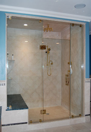 Frameless shower enclosue, full hight panes, glass to glass hinges, done in Chester NJ