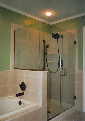 Frameless corner shower using antique brushed copper hardware, Washington, NJ