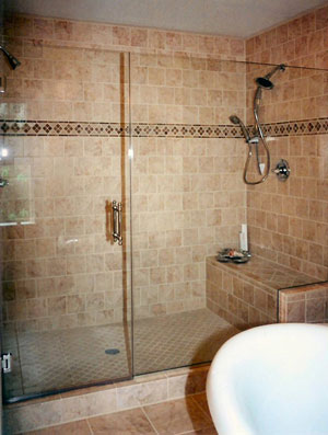 Frameless shower enclosure, using Starphire glass