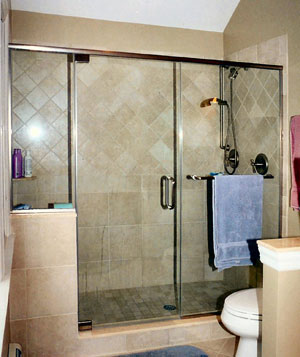 Frameless shower enclosure with header done in Bernardsville, NJ